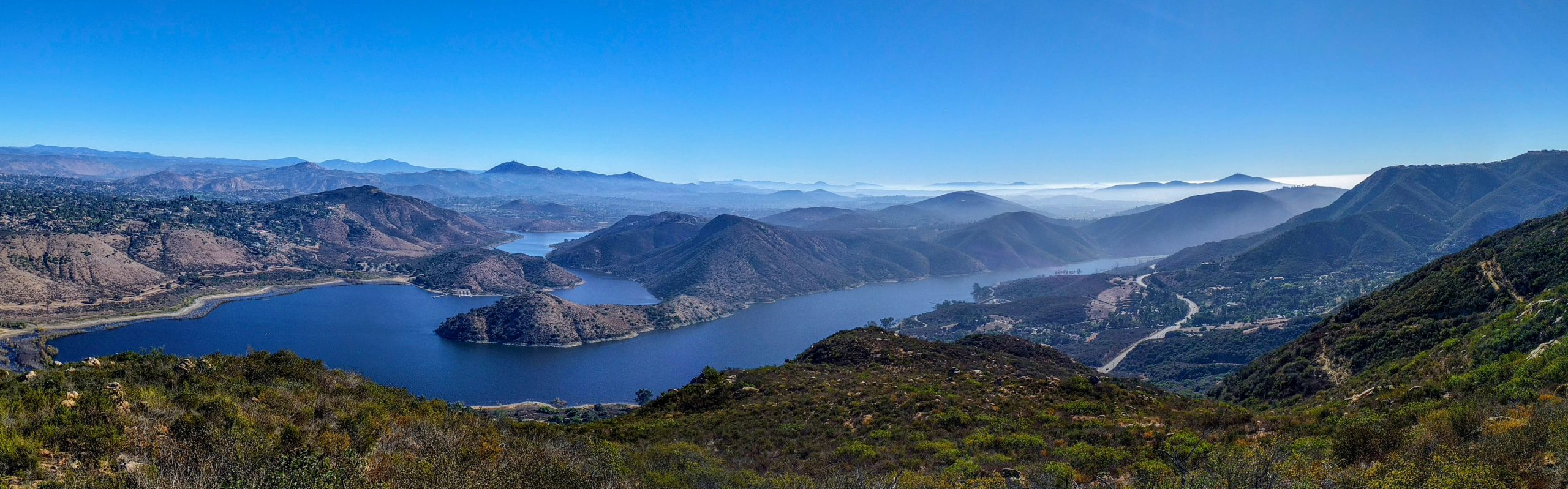 Looking east at Lake Hodges from Mt Israel